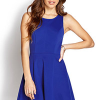 FOREVER 21 Classic Fit & Flare Dress Royal