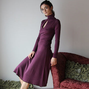 womens sweater dress with turtleneck and keyhole detail - wool blend lounge wear lingerie and sleepwear range - MALLARD - made to order
