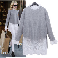 Grey Asymmetrical Insert Lace Knit Sweater