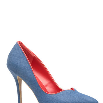 Denim Faux Leather Plunging Pumps