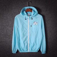 Ripndip Cat fashion Hooded Zipper Cardigan Sweatshirt Jacket Coat Windbreaker Sportswear Blue