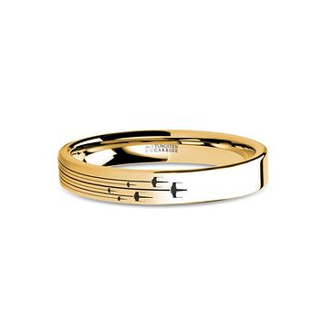 Star Wars Xwing Squadron Flight Path Engraved Gold Tungsten Ring