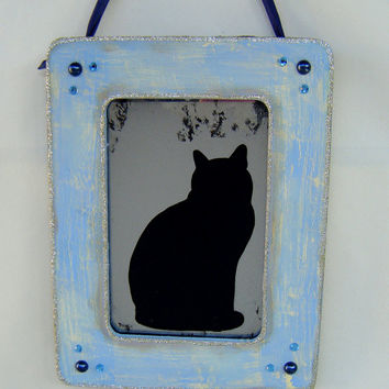Black Cat Silhouette Shabby Chic Blue Romantic Cottage Art Antiqued Mirror Cat Lady French Country Folk Art