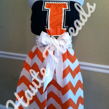 Illinois Fighting Illini Football College Gameday Game Day Orange CHEVRON Print Tube Strapless T-Shirt Dress with White Sash Bow - Large