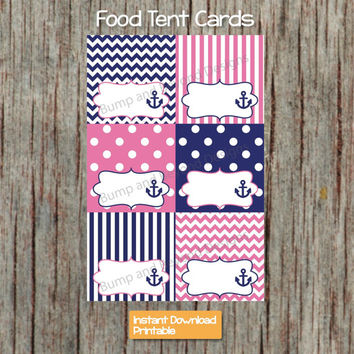 Food Tent Cards Nautical Anchor Navy Blue Gum Pink INSTANT DOWNLOAD Printable Buffet Labels Girl Baby Shower Birthday 019