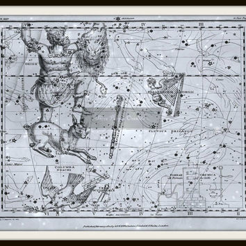 Orion Astronomy Print, Orion's belt, Vintage Print, Metallic Print, Orion constellation, Lepus, Star Map