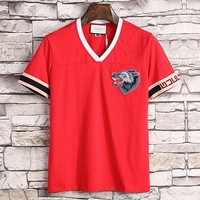 Gucci  Men Fashion Casual Letter Shirt Top Tee