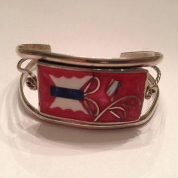 Vintage Alpaca Silver Cuff Bracelet Coral Butterfly Inlay Mexico Jewelry