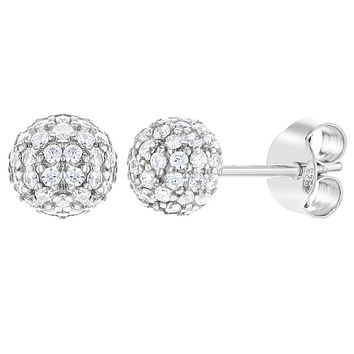 925 Sterling Silver Clear CZ Fireball Stud Earrings for Girls Teens 6mm