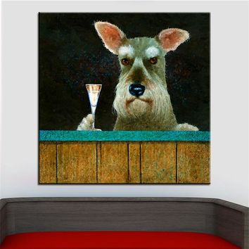 Large size Printing Oil Painting schnauzers schnapps Wall painting Steampunk Wall Art Picture For Living Room painting No Frame