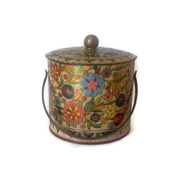 Vintage Tin-Large Round Tin with Handle-Tin Box-England-Decorative Tin Box-Packaging-Embossed Floral Design-Metal Tin Box-Collectible