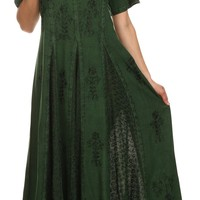 Sakkas Hailey Cap Sleeve Caftan Long Embroidered Stonewashed Dress
