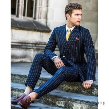2018 Men Suit 2 Pieces Double Breasted Suits Navy Striped Tuxedo Wedding Suits for Men Slim Fit tuxedos (Jacket+Pants)