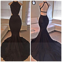 Backless Mermaid Black Prom Dresses 2017 High Split Sweep Train Evening Party Gowns For Women Vestidos Cortos De Gala