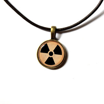 Fallout necklace Radiation sign pendant Post-nuke jewelry Antique style n226