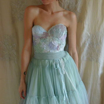 Folklore Fairy Bustier Dress... whimsical corset gown bridesmaid wedding party formal prom pixie fantasy alternative green tutu eco friendly