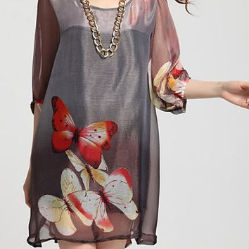 Gray Butterfly Printed Maxi Dress