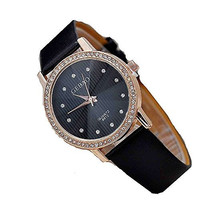 Tuogi Womens Rose Gold Tone, Black Face Stripes and Rhinestone Watch with Bla...