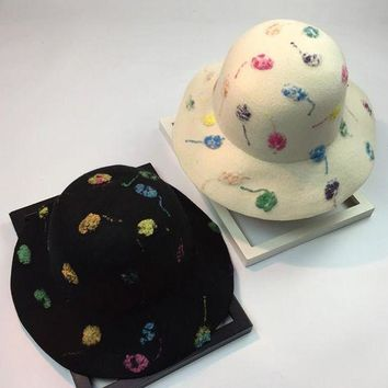 LMFON Women Mysterious Retro Wool Bucket Hat Multicolor Hand Painted Jazz Cap Bowler Hat