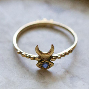 Hand Carved Inanna Ring Cast in 14k Gold with Blue Sapphire