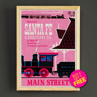 Vintage Disneyland Attraction Poster Santa Fe Railroad Print Home Wall Decor Gift Linen Print - Buy 2 Get 1 FREE - 351s2g
