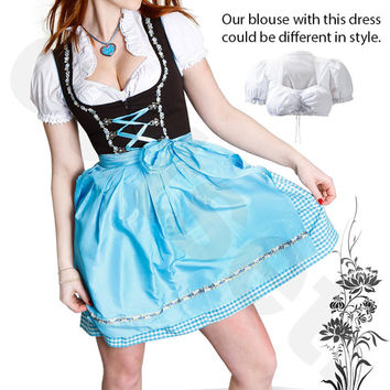 Dirndl Dress Blue, Ethnic 3 Piece Oktoberfest Bavarian Trachten. Austrian, German Folk Outfit - Festival Costume With Apron and Blouse