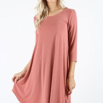 Essential ¾ Sleeve Solid Tunic Dress