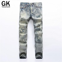 GONZETANK 2017 Broken Light gray Jeans for Men Skinny Classical and Straight  Boyfriend  Narrow for  Middle waisted Size 28~42