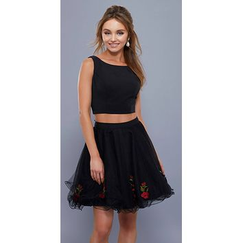Black Two-Piece Homecoming Short Dress Open Back Embroidered Skirt