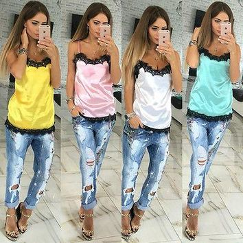 Sexy Women Solid Camis Summer Casual Lace Patchwork Vest Top Sleeveless Tank Tops