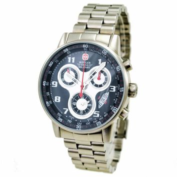 Wenger 79126 Men's Military Commando Chronograph Black Dial Stainless Steel Watch