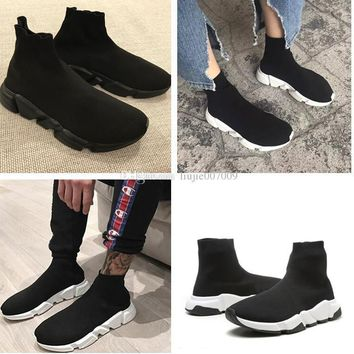 paris balenciaga original good quality red yellow speed trainer casual shoe man woman sock boots with box stretch knit casual boots race runner cheap sneaker high top 2