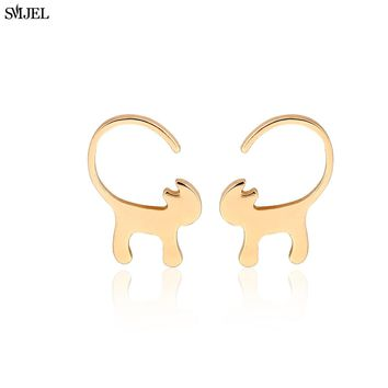 SMJEL 2017 New Fashion Animal Long Tail Cat Stud Earrings for Women Tiny Kitty Earrings Party Gifts S123