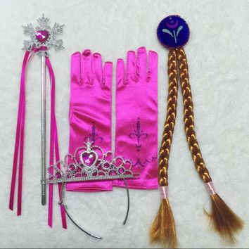 4Pcs/Set Elsa Anna princess crown magic wand braid gloves Magic Wand + Rhinestone Hair Crown + Glove Set Girl Free Shipping