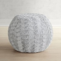Paxton Fuzzy Charcoal Ottoman