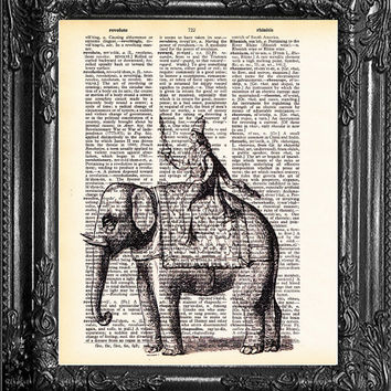 Indra Elephant Rider-Dictionary Print Vintage Book Print Page Art, Antique Book Page, Christmas Gift, College Dorm Poster, Home Wall Decor