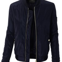 LE3NO Womens Classic Slim Zip Up Biker Bomber Jacket with Pockets (CLEARANCE)
