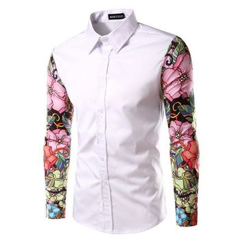 Men's Shirts Turn-down Collar Cotton