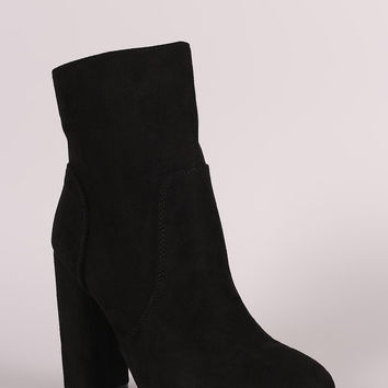 Suede Rounded Chunky Heel Ankle Boot