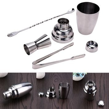 4Pcs 250ml Cocktail Shaker Stainless Steel Cocktail Shaker Set Wine Tools With Mixing Spoon Jigger and Muddler Silver Bar Sets