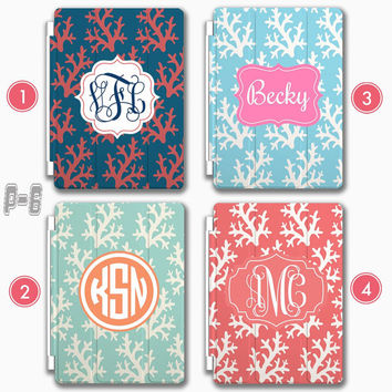 Coral Personalized iPad Air 2 smart cover , Customized iphone 6 case , Monogram ipad 4 , ipad mini leather case, Samsung galaxy Note 4 case