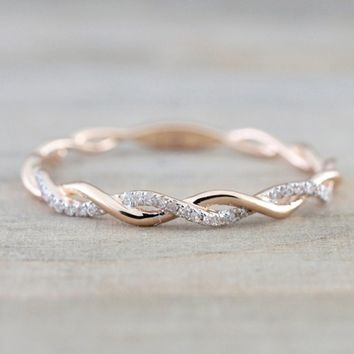 Women's Fashion Solid Rose Gold Stack Twisted Rhinestone Ring Anniversary Engagement Wedding Jewelry Ring