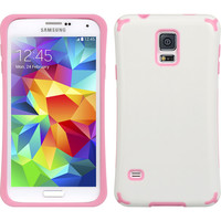 DW Hybrid TPU Grip Armor Case for Samsung Galaxy S5 - White/Pink