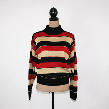 Striped Sweater Womens Medium Metallic Gold Red Black Mock Neck Turtleneck Sparkly Sweater Holiday Sweater Dressbarn Womens Clothing
