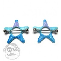 Blue Starfish Nipple Ring Barbell Shield 14G | UrbanBodyJewelry.com