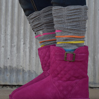 Girls Knee High Boot Sock by BearPaw {Grey/Pink/Blue/Yellow}