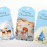 Blue Christmas Gift Tags Set of 6 Retro Vintage Inspired Deer Woodland Angel Santa Lambs