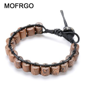 Natural Leather Strand Bracelets Tibetan Amulet Wenge Praye Meditation Bracelet Handmade Woven Wood Beads Bracelet For Men Women