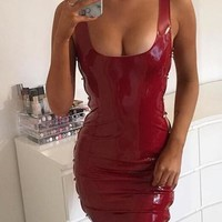 Red Cut Out PU-Leather Latex Bodycon Clubwear Party Mini Dress