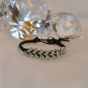 Braided in Sparkles - Black Greek Leather and Swarovski Crystals